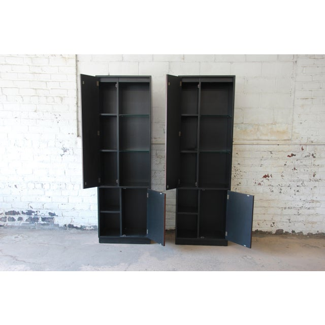 Glass Harvey Probber Rosewood and Ebonized Wood Display Cabinets, Pair For Sale - Image 7 of 11