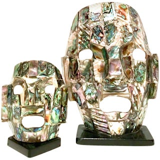 Mid Century Mayan Style Ceremonial Abalone Mounted Mask Sculptures - a Pair For Sale