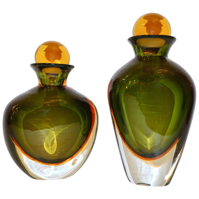 Formia Modern Italian Ovoid Yellow Green Orange Murano Glass Bottles - a Pair For Sale