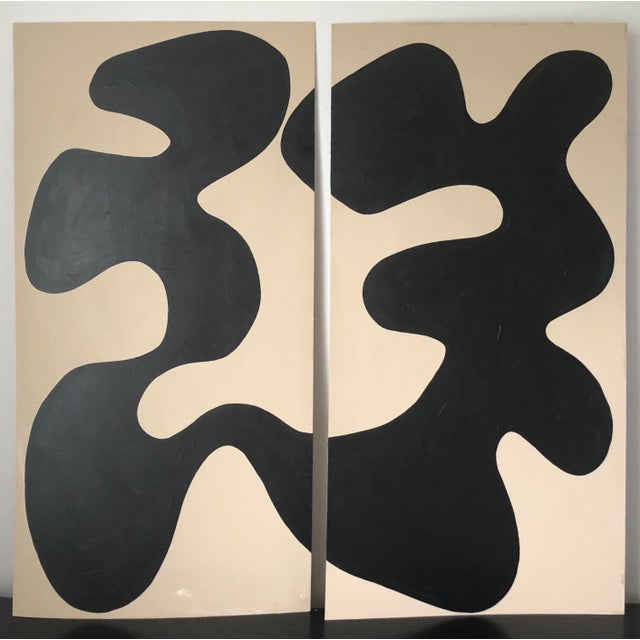Libra Oversized Abstract Diptych Acrylic Painting For Sale - Image 9 of 9