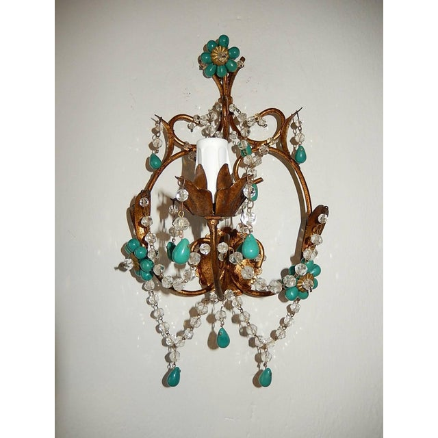 French Turquoise Green Murano Beads Rock Crystal Swags Sconces For Sale - Image 9 of 10