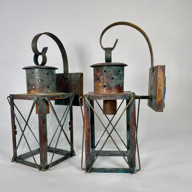 Solid Copper Custom-Made Outdoor Wall Lanterns by Genie House, Set of 4 For Sale - Image 4 of 13