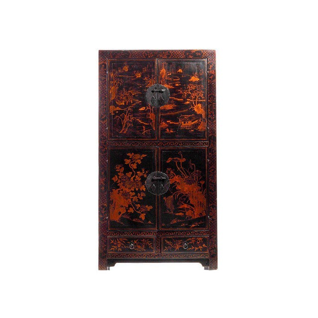 A Chinese hand-painted black lacquered cabinet with landscape. This Chinese 19th century cabinet features black lacquer...