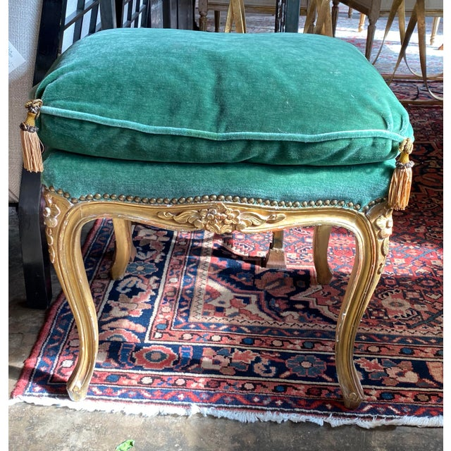 """19th Century Louis XVI tabouret gilt carved with green upholstery and gold tassels. 20"""" Wide x 16"""" Deep x 24"""" High"""