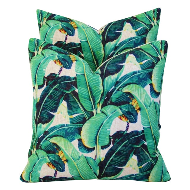 Dorothy Draper-Style Banana Leaf Pillows - a Pair For Sale In New York - Image 6 of 6
