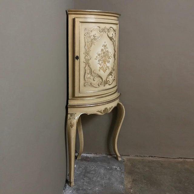 Baroque Antique Italian Baroque Painted Corner Cabinet For Sale - Image 3 of 12