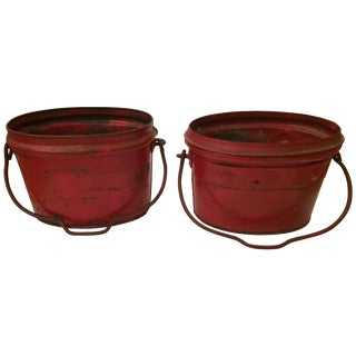 Show Stopping Fire Engine Red Antique Zinc Buckets For Sale