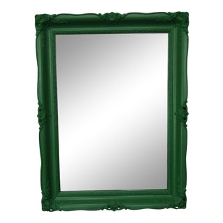 Rococo Style Green Lacquer Carved Wood Framed Mirror For Sale
