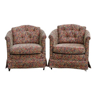 Barrel Shaped Club Chairs, A Pair For Sale