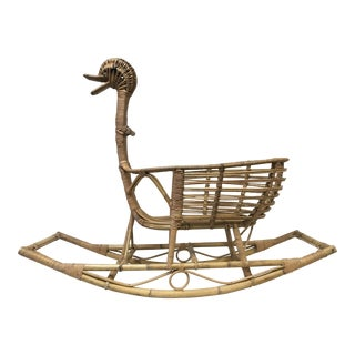 Vintage Wicker and Bamboo Duck Rocking Cradle For Sale