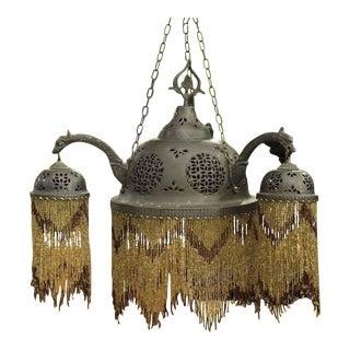 Vintage Moroccan Style Metal & Beaded Chandelier