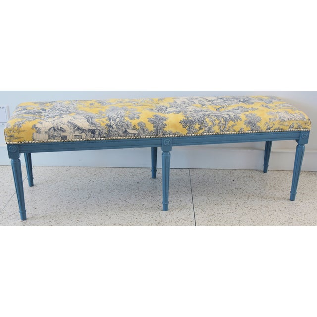 French-Style Yellow, White & Blue-Gray Toile Bench For Sale - Image 11 of 13