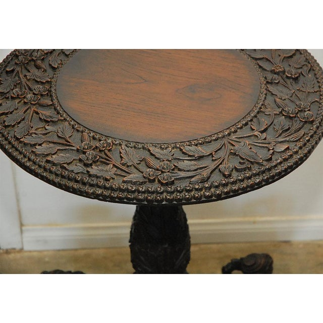 Brown Hand Carved Burmese Occasional Table For Sale - Image 8 of 9