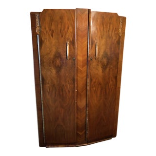 1940s Vintage Art Deco Walnut Armoire For Sale