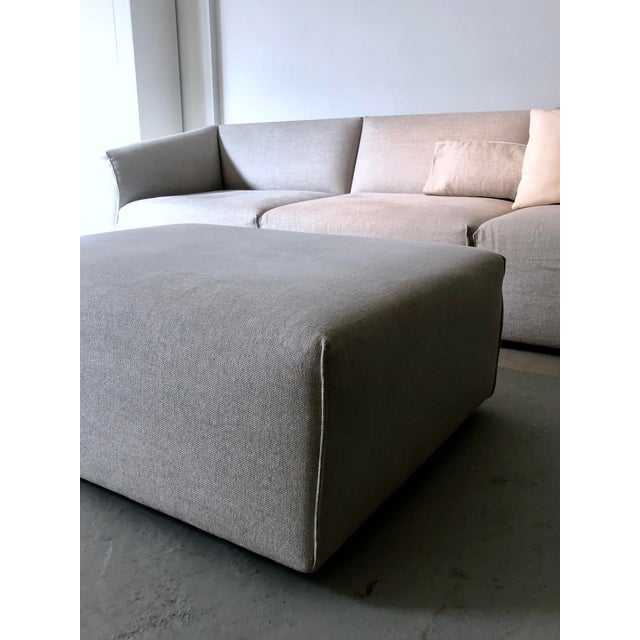 Modern Modular Sofa and Ottoman Light Grey and White Piping by Mdf Italia For Sale - Image 10 of 12