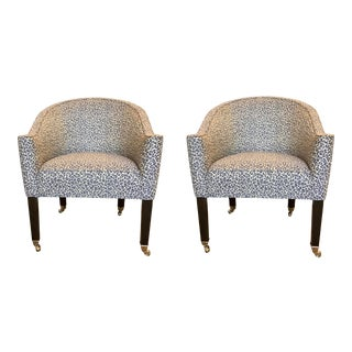 Duralee Modern Blue and White Animal Print Gibson Lounge Chairs - a Pair For Sale