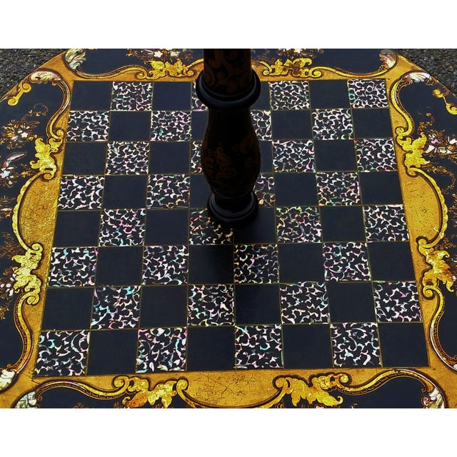 Antique ENGLISH Black Laquered PAPER MACHE Mother of Pearl LAMP TABLE Chess For Sale In New York - Image 6 of 10
