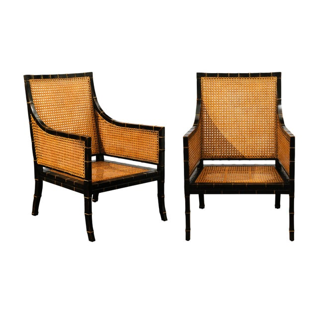 Beautiful Restored Pair of Large-Scale Double-Sided Cane Club Chairs For Sale - Image 9 of 9