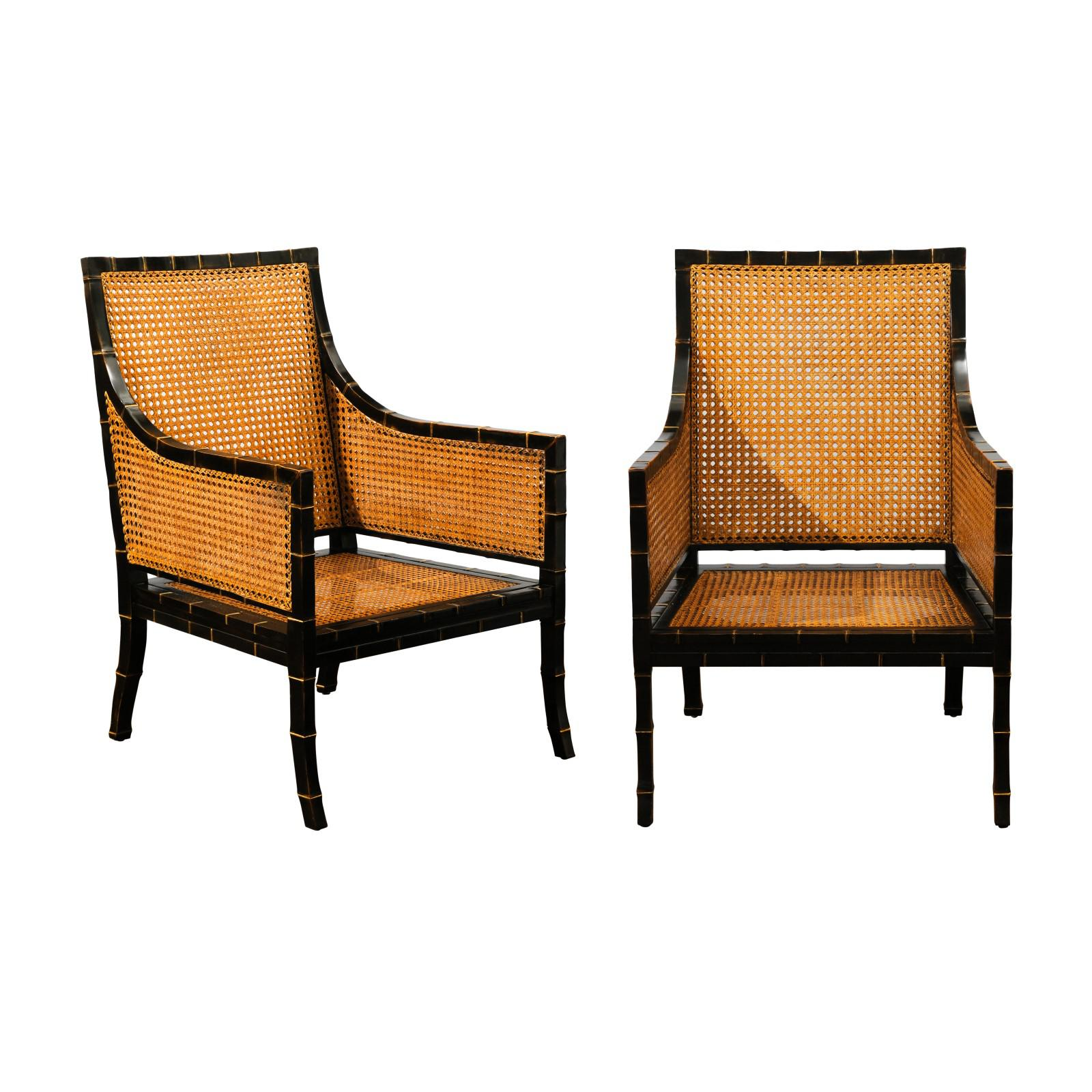 Charmant Beautiful Restored Pair Of Large Scale Double Sided Cane Club Chairs For  Sale