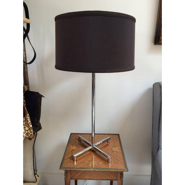 """Chrome """"Lange"""" X-base table lamp by Shelton, Mindel & Assocs. for Nessen lighting. Full range dimmer switch. Vintage shade..."""