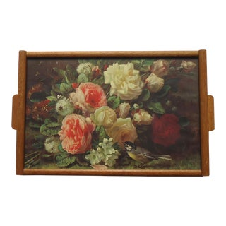 Vintage Bird and Roses Print in Oak Tray Frame For Sale