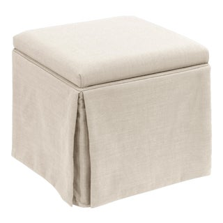 Linen Talc Skirted Storage Ottoman For Sale
