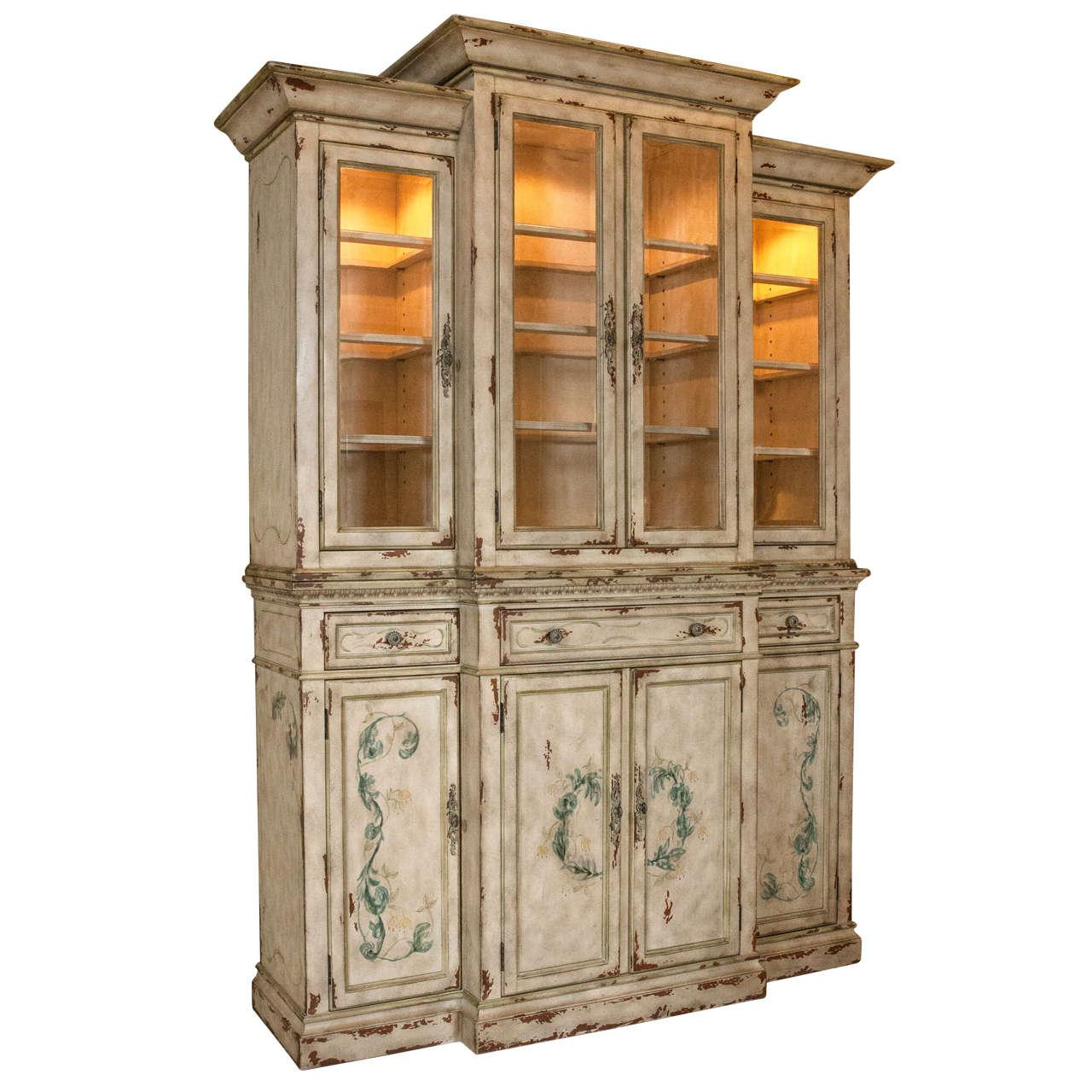 Bon Neoclassical Two Piece China Cabinet For Sale   Image 11 Of 11