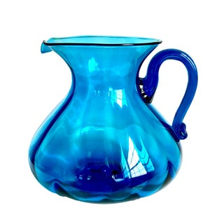 Mid-Century Blue Blenko Glass Pitcher Style Vase For Sale