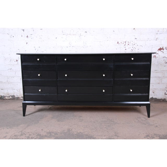 Paul McCobb Style Ebonized Triple Dresser or Credenza by Heywood Wakefield For Sale - Image 13 of 13