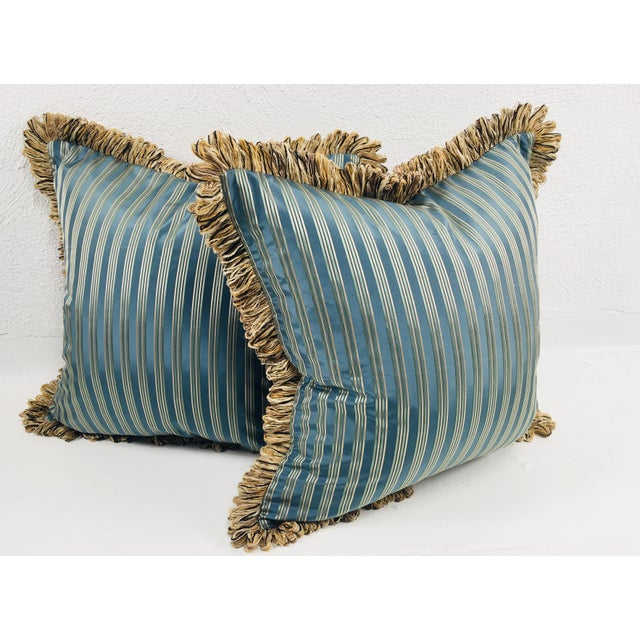 Coraggio Teal & Silver Stripe Pillows- a Pair For Sale - Image 5 of 5