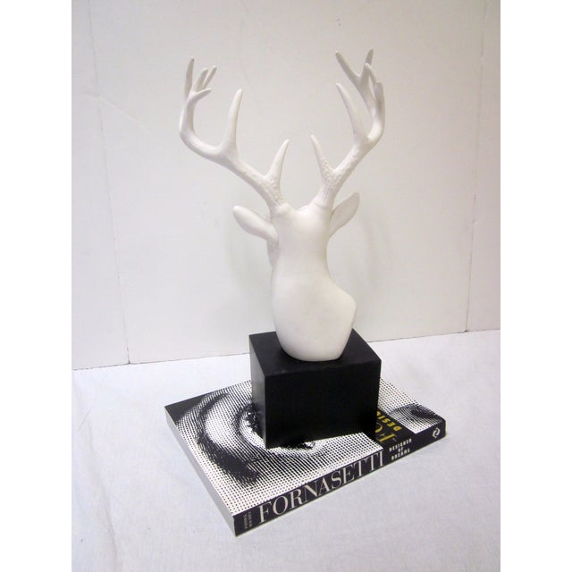 Faux White Reindeer Deer Antlers Bookshelf Decor - Image 4 of 11