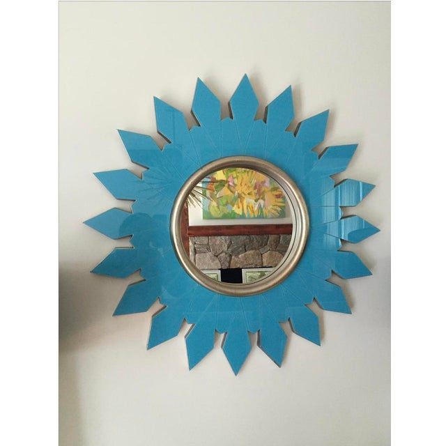 Algonquin Hotel Turquoise Starburst Mirror For Sale - Image 4 of 4