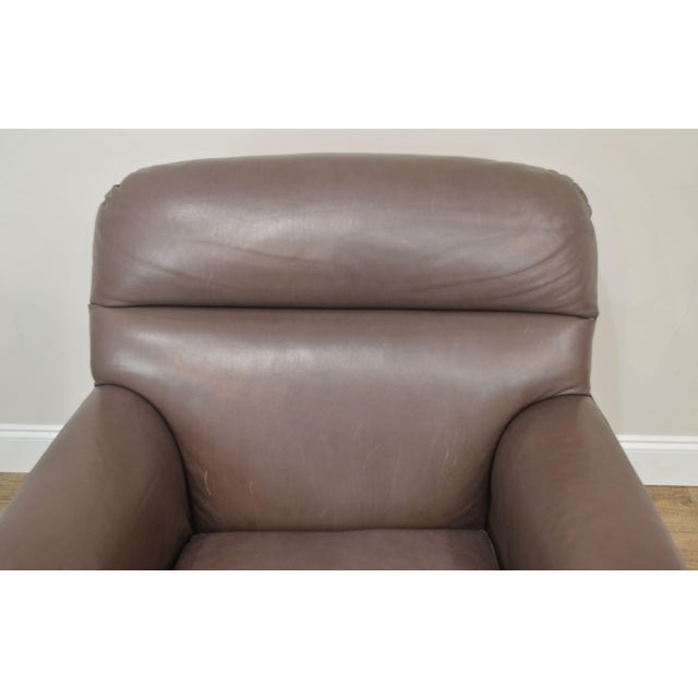 Donghia Leather Lounge Chair With Ottoman For Sale - Image 11 of 13