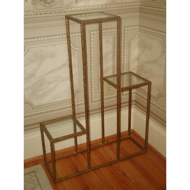Gilt Metal & Glass 3 Tier Shelf Table - Image 6 of 9