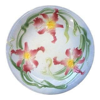 French Majolica Orchid Plate Saint Clement, Circa 1900 For Sale