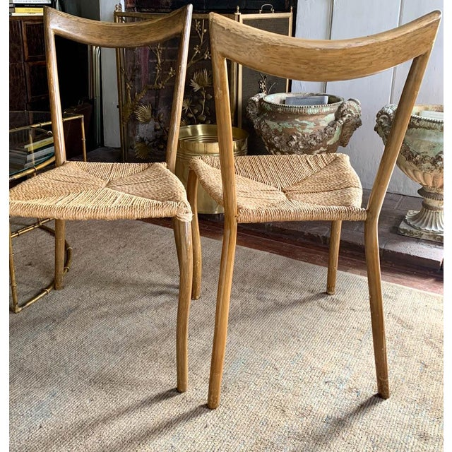 Wood Pair, Mid Century Chairs With Rope Seats For Sale - Image 7 of 12