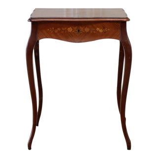 Marquetry Inlaid Ladies Vanity Dressing Table For Sale