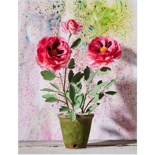 """Paper peony plant with 2 blossoms and a bud in a beautiful aged terra cotta pot. Approximately 25"""" tall, 19"""" at widest..."""