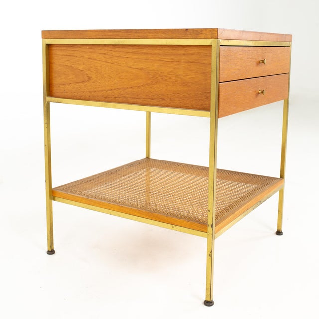 Calvin Furniture Paul McCobb for Calvin Group Mid Century Oak and Brass Nightstand For Sale - Image 4 of 13