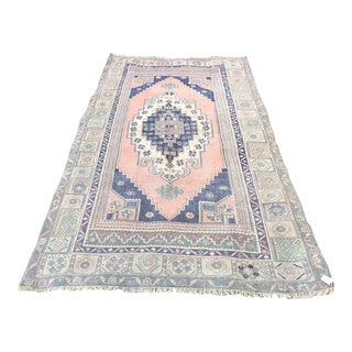 Muted Pastel Turkish Oushak Rug For Sale