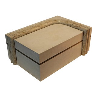 Maitland Smith Tessellated Stone and Brass Box For Sale