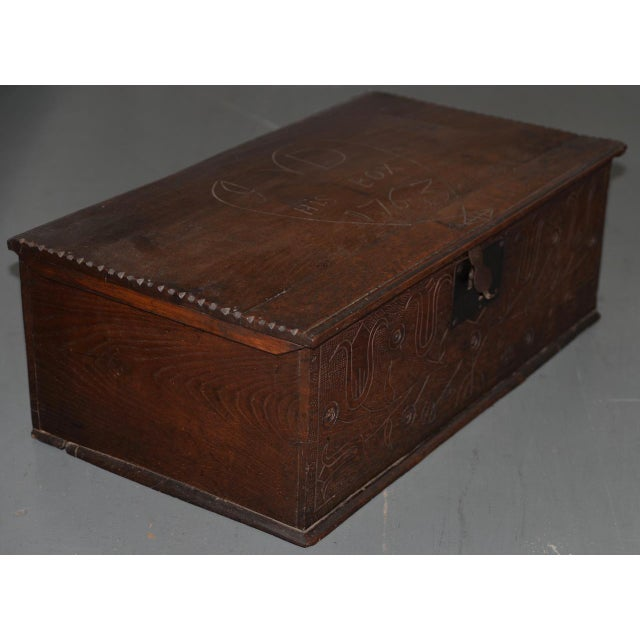 Brown 18th Century Carved Walnut Bible Box C.1763 For Sale - Image 8 of 11
