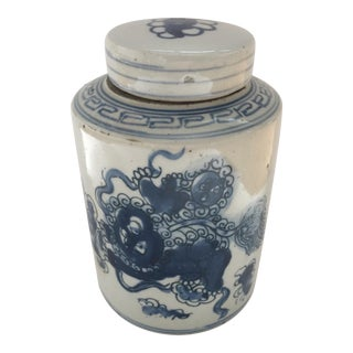 Blue and White Asian Canister Jar For Sale