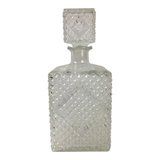 1960s Diamond Quilted Glass Decanter For Sale