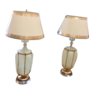 1960's Gilt Opaline & Metal Murano Oversized Lamps With Shades - a Pair For Sale