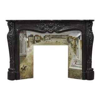 Beautiful, Rare Black Marble French Louis XV Fireplace with Original Insert For Sale