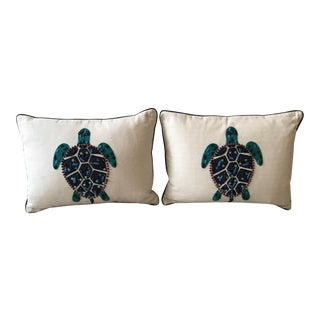 Celerie Kemble Down Stuffed Beaded and Sequined Sea Turtle Pillow / Kemble Interiors - a Pair For Sale