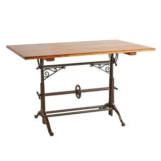 Drafting Table W/ Cast Iron Legs & Ornamental Brackets Circa 1910s