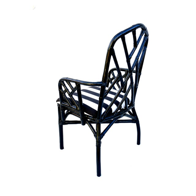 Vintage Bamboo Chippendale Arm Chairs - A Pair For Sale - Image 5 of 12