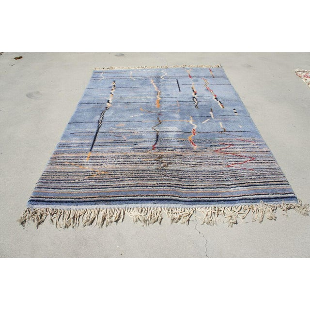 "Moroccan Light Blue Abstract Rug- 6'5"" x 9' - Image 3 of 7"